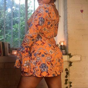 Orange Paisley Bell Sleeve Dress